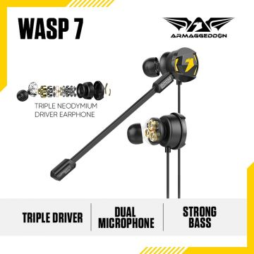 ARMAGGEDDON Wasp-7 PRO 3D Gaming Earphones with Triple Neodymium Driver and Mic