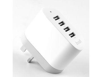 Budi 4 USB Home Charger With Folded UK Plug (CC158)