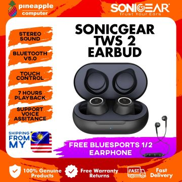 SonicGear TWS 2 Wireless Bluetooth Earphone with Portable Charging Case