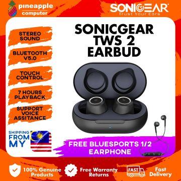 SONICGEAR (EARPUMP TWS 2 BLACK) BLUETOOTH 5.0 WIRELESS EARPHONE + BLUE SPORT 2 (BUNDLE DEAL)