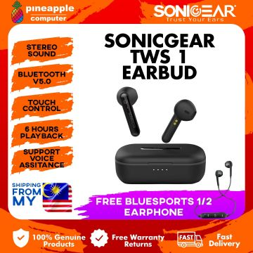 SonicGear TWS 1 Wireless Bluetooth Earphone with Portable Charging Case