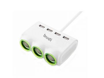 Budi 4 USB Car Charger with 3 Sockets (CC164)
