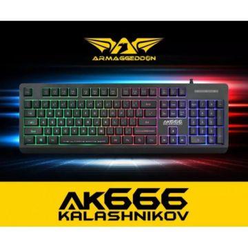 ARMAGGEDDON AK666X Kalashnikov 104 Tackey Membrane Gaming Keyboard (Black)