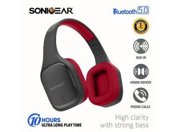 SonicGear Airphone 7 Bluetooth Headphones With Mic (Black/Maroon)