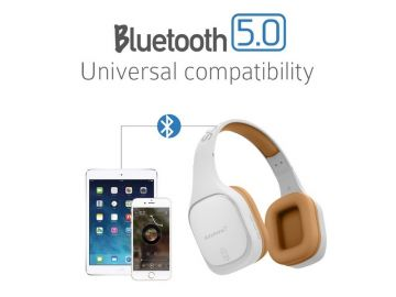 SonicGear Airphone 7 Bluetooth Headphones With Mic (White/Gold)