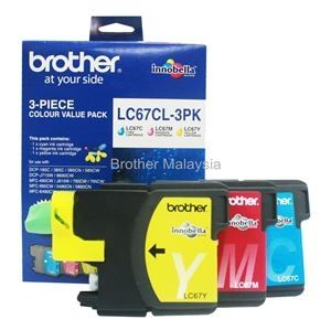 BROTHER LC-67HYCL-3PK CMY Color Value Pack Ink Cartridge (750 pages x 3) (LC67HYCL)