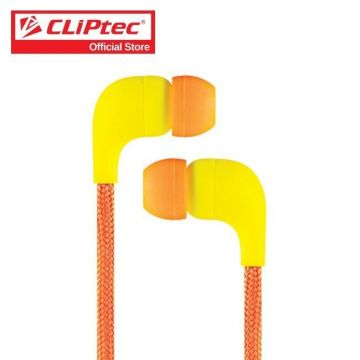CLIPTEC (BME767-OR) In-ear Earphone with Micriphone WITH MICROPHONE LACE - ORANGE