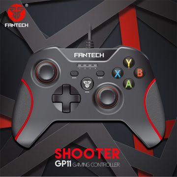 Fantech GP11 Shooter Wired Vibration Gaming Controller Gamepad with Red Light for PC/PS