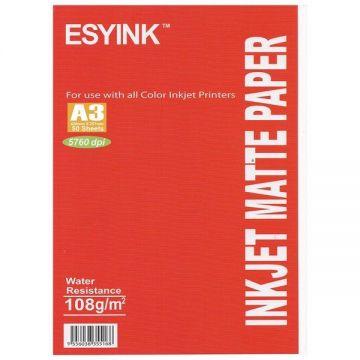 ESYINK 108 gms A3 Inkjet Matte Paper (A3 x 50 sheets)