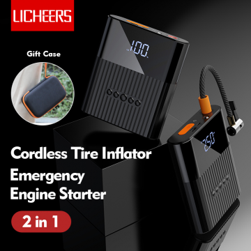 Licheers LC-302 Cordless Tire Inflator for Car Emergency Engine Starter and 8800mAh power bank
