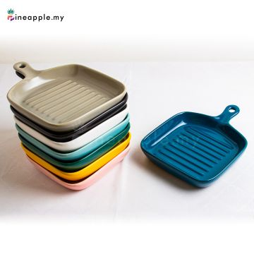 Ceramic Handle Square Plate with Grain Texture