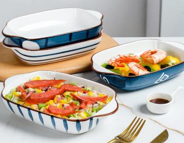 Ceramic Painted Binaural Baking Pan