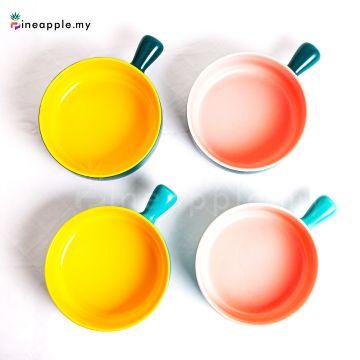 Ceramic Double Color Handle Baking Bowl
