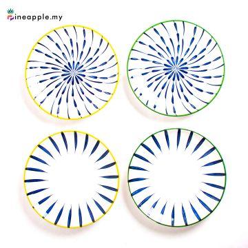 Ceramic 8 Inch Plate with Flower Leaf Design