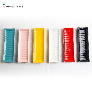 Ceramic Long Striped Disk Plate