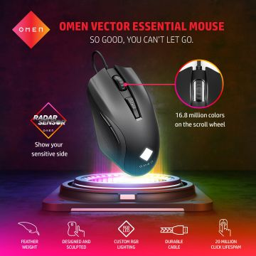 HP OMEN Vector Wired Gaming Mouse (Black) (88C52AA) | 16.8m colors | 6 programmable buttons | 100-16,000dpi