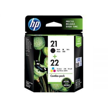 HP 21 Black + 22 Tri-color Ink Cartridge Combo Pack Original)