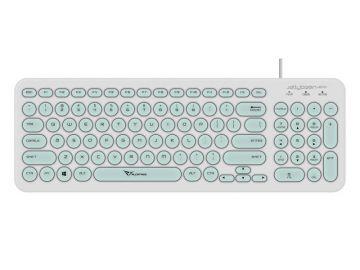 Alcatroz Jelly Bean U200 USB Wired Keyboard - Soft and Silent Round Keys (White / Mint)