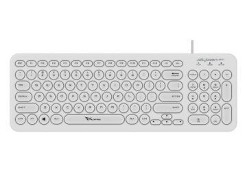 Alcatroz JellyBean U200 USB Wired Keyboard - Soft and Silent Round Keys (White)