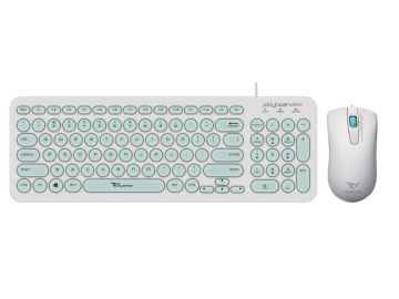 Alcatroz Jelly Bean U2000 Wired Keyboard and Mouse Combo (White / Mint)