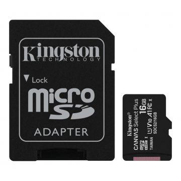 KINGSTON Canvas Select Plus 16GB 100MB/s CL10 UHS-I microSD Memory Card (SDCS2/16GB)