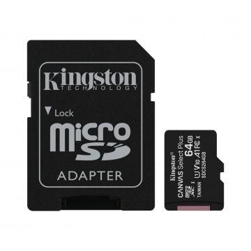 KINGSTON Canvas Select Plus 64GB 100MB/s CL10 UHS-I microSD Memory Card (SDCS2/64GB)