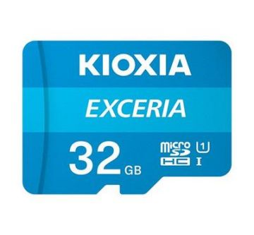 KIOXIA Exceria 32GB CL10 R100 microSD Memory Card w/adaptor (LMEX1L032GG2)