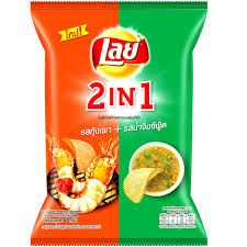 Thailand Lays Potato Chip - 2 in 1 Flavour Grilled Prawn + Seafood Sauce 48g