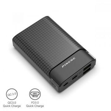 PINENG PN-986 10000mAh QC3.0 + PD Type C Quick Charge Li-Polymer Compact Powerbank (Black) (Genuine)