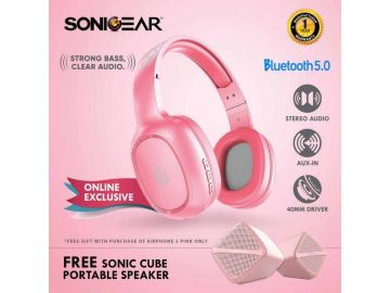 SonicGear AirPhone 3 Bluetooth Headphones With Mic For Smartphones and Tablets (Peach)