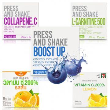 Thai PRESS & SHAKE Fresh Doze - Flavour Lemon Vitamin / Apple Carnitine / Blue Boost / Berry Collapane