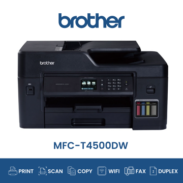 BROTHER MFC-T4500DW AIO Fax Duplex Wifi A3 Refill Tank System Printer