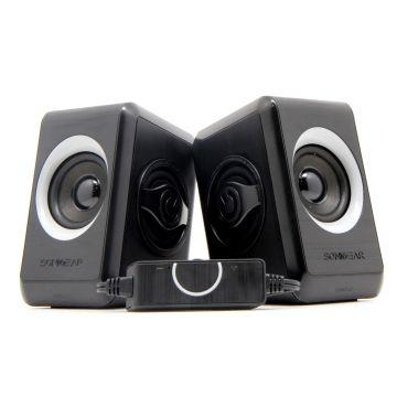 SonicGear Quatro 2 Super Loud (2.0 USB Speakers) For Smartphones and PC Laptops (Black Grey)