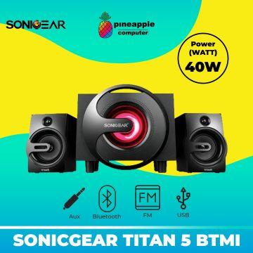 SONICGEAR Titan 5 BTMI Bluetooth Speaker with 7 Pulsating LED (Black)