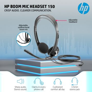 HP Boom Mic Headset 150   Sharp audio. Stereo sound.   Clarity in every phone call   Cushioned comfort all day   Find the right fit   3.5 mm stereo jack