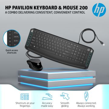 HP Pavilion Wired Keyboard and Mouse 200 (Black) (9DF28AA)