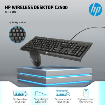 HP C2500 Wired USB Keyboard & Wired Mouse Combo (Black) (J8F15AA)