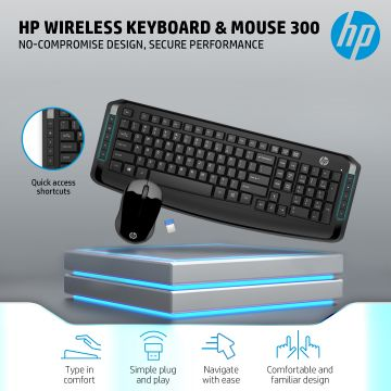HP Wireless Keyboard and Mouse 300 Combo (Black) (3ML04AA)