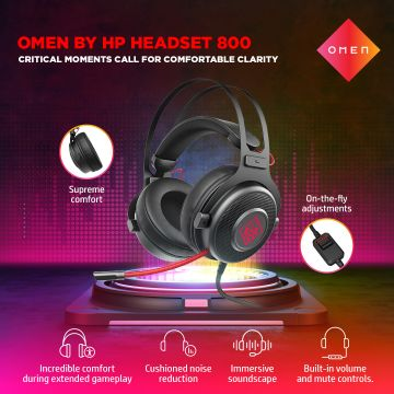HP OMEN Wired 3.5mm Gaming Headset Gaming 800 with Noise Cancellation, Built-In Mic, Multi-Dimension Audio, Universal Compatibility, Supreme Comfort (1KF76AA)