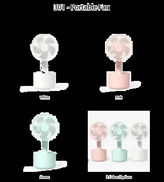 VAREO 301 Portable Fan (White/Pink/Green)
