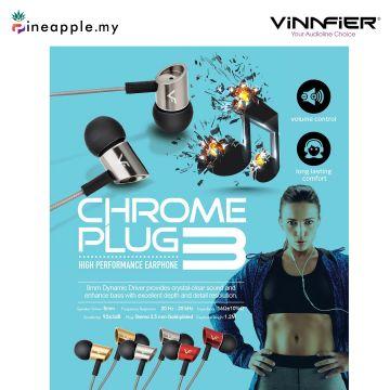 Vinnfier Chrome Plug 3 High Performance Earphone with built in Microphone
