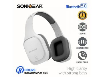 SonicGear Airphone 7 Bluetooth Headphones With Mic (White/Grey)