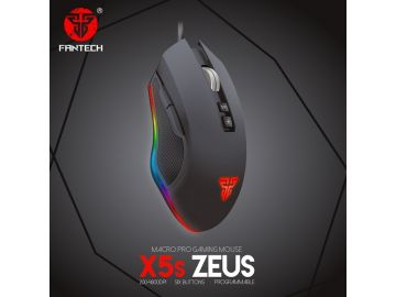 FANTECH X5s ZEUS Pro Gaming Mouse 4800DPI Six Macro Programmable Buttons USB Optical Macro with Running RGB Chroma Luminous Lights
