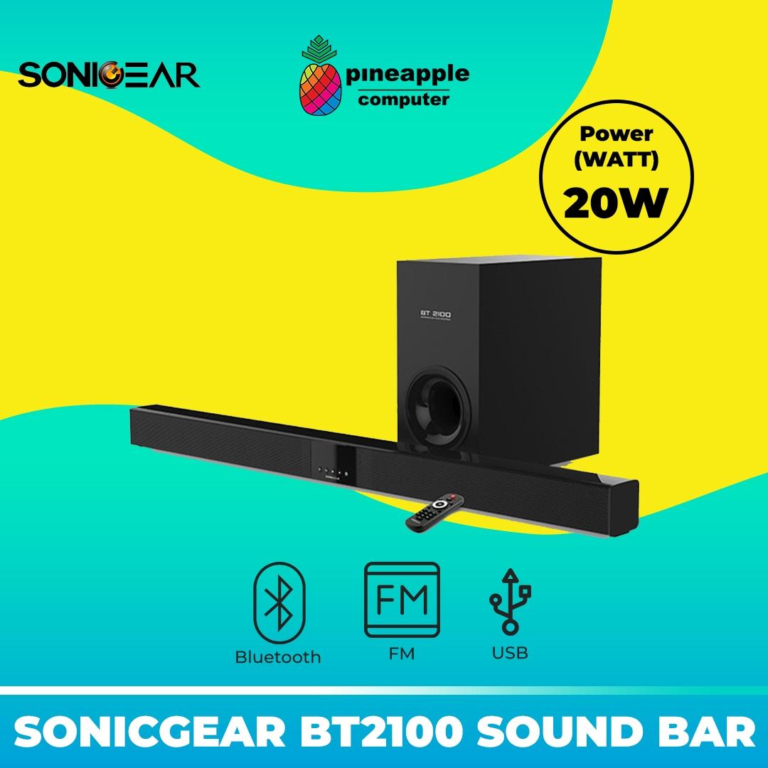 SonicGear BT2100 Bluetooth Sound Bar and Subwoofer with FM Radio, USB input